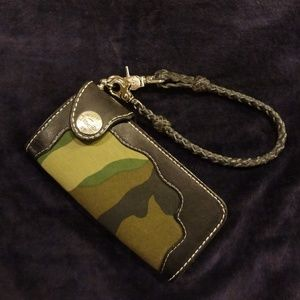 Leather and canvas checkbook Wallet